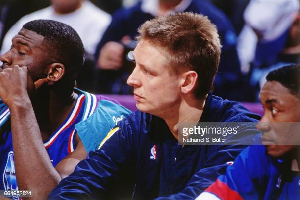 Detlef Schrempf of the Eatern Conference AllStars looks on during the 1993 NBA AllStar Game on February 21 1993 at the Delta Center in Salt Lake City...