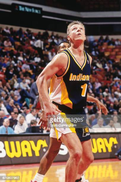Detlef Schrempf of the Indiana Pacers boxes out against the Atlanta Hawks during a game played circa 1990 at the Omni in Atlanta Georgia NOTE TO USER...