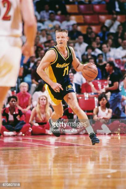 Detlef Schrempf of the Indiana Pacers dribbles against the Atlanta Hawks during a game played circa 1990 at the Omni in Atlanta Georgia NOTE TO USER...
