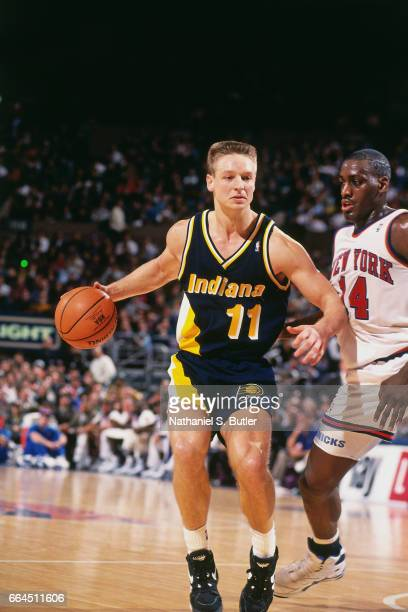 Detlef Schrempf of the Indiana Pacers dribbles against the New York Knicks during a game played circa 1993 at the Madison Square Garden in New York...