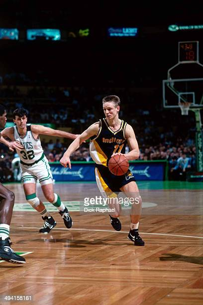 Detlef Schrempf of the Indiana Pacers drives against the Boston Celtics during a game played at the Boston Garden in Boston Massachusetts circa 1993...