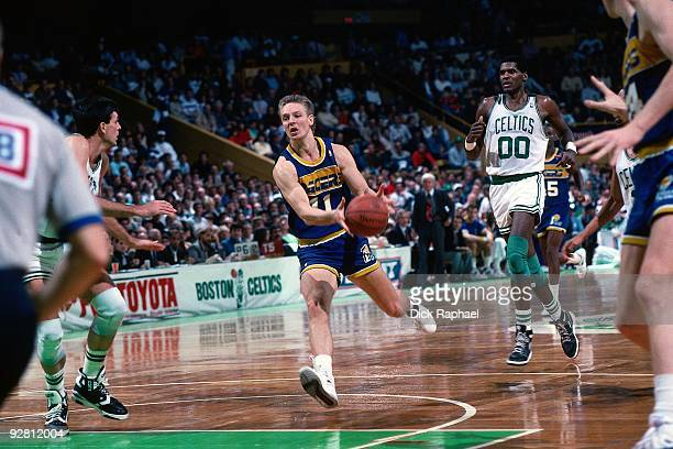 Detlef Schrempf of the Indiana Pacers drives up court against the Boston Celtics during a game played in 1989 at the Boston Garden in Boston...