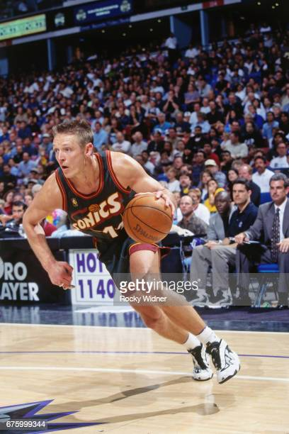 Detlef Schrempf of the Seattle SuperSonics drives against the Sacramento Kings circa 1997 at Arco Arena in Sacramento California NOTE TO USER User...
