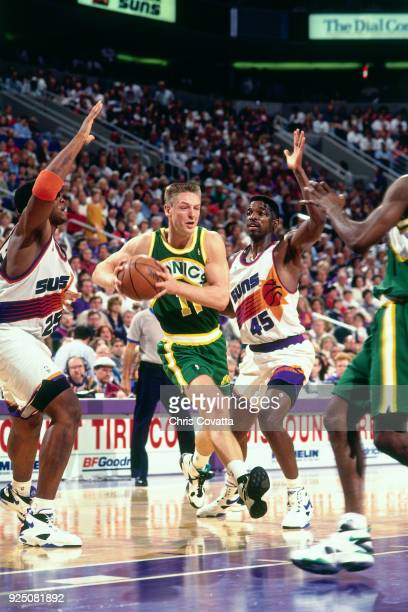 Detlef Schrempf of the Seattle SuperSonics drives during a game on January 4 1994 at America West Arena in Phoenix Arizona NOTE TO USER User...