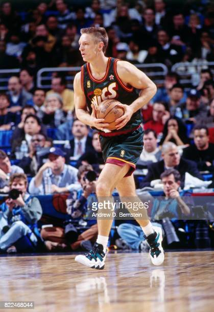 Detlef Schrempf of the Seattle SuperSonics looks to pass during the 1997 AllStar Game on February 9 1997 at Gund Arena in Cleveland Ohio NOTE TO USER...