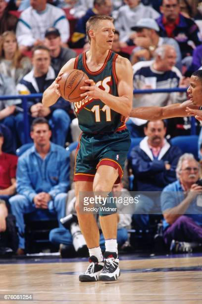 Detlef Schrempf of the Seattle SuperSonics posts up against the Sacramento Kings circa 1995 at Arco Arena in Sacramento California NOTE TO USER User...