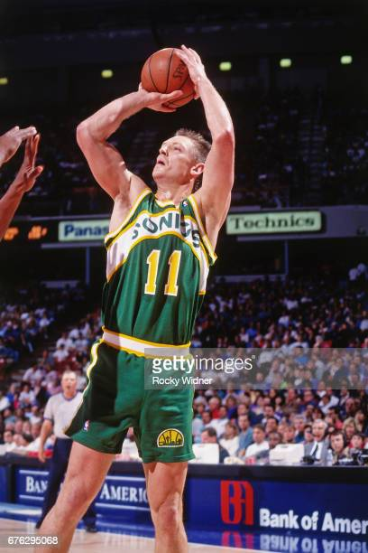 Detlef Schrempf of the Seattle SuperSonics shoots against the Sacramento Kings circa 1994 at Arco Arena in Sacramento California NOTE TO USER User...