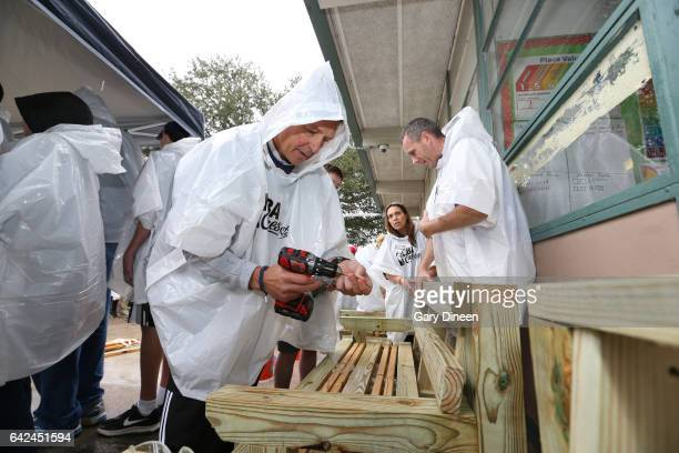Detlef Schrempf participates during the NBA Cares Day of Service as part of 2017 AllStar Weekend at the KaBOOM Rebuilding Together on February 17...