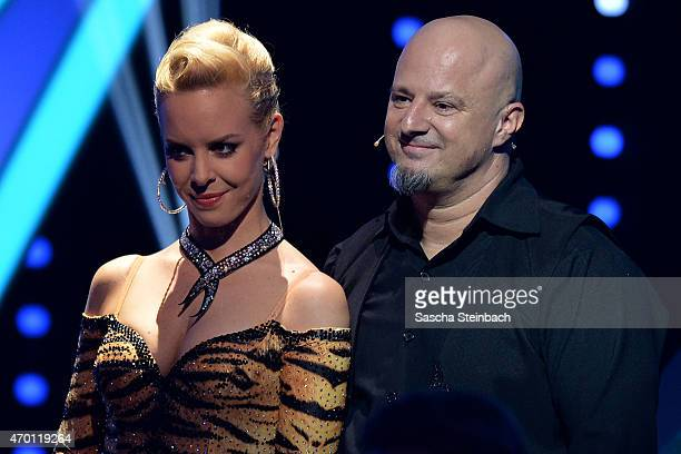 Detlef Steves and Isabel Edvardsson react after being retired during the 5th show of the television competition 'Let's Dance' on April 17, 2015 in...