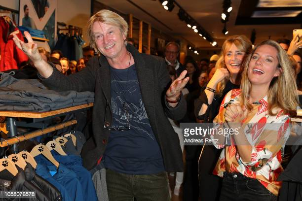 Detlev Buck and Marie Burchard attend the meet and greet at Jack Wolfskin flagship store prior to the movie premiere of 'Wuff' on October 22 2018 in...