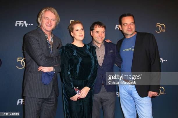 Detlev Buck Anika Decker Jan Josef Liefers and Marc Rothemund attend the 50th anniversary celebration of FFA at Pierre Boulez Saal on March 6 2018 in...