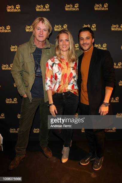 Detlev Buck Marie Burchard and Kostja Ullmann attend the meet and greet at Jack Wolfskin flagship store prior to the movie premiere of 'Wuff' on...