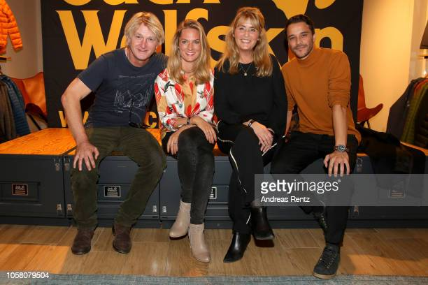Detlev Buck Marie Burchard Andrea Willson and Kostja Ullmann attend the meet and greet at Jack Wolfskin flagship store prior to the movie premiere of...