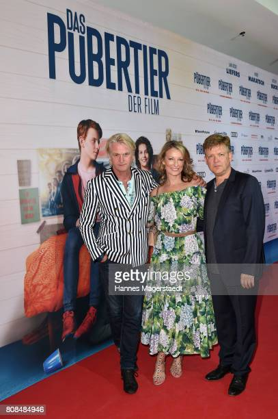 Detlev Buck Monika Gruber and Justus von Dohnanyi during the 'Das Pubertier' Premiere at Mathaeser Filmpalast on July 4 2017 in Munich Germany