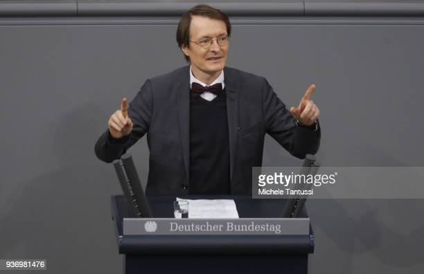 Detlev Karl Lauterbach Health expert of the social democrats SPD, speaks after the New German Health Minister presented the new coalition...