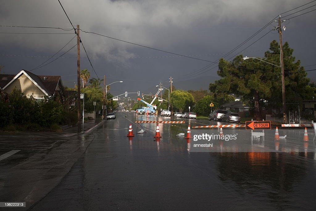 Detour - powerline down during storm : Stock Photo