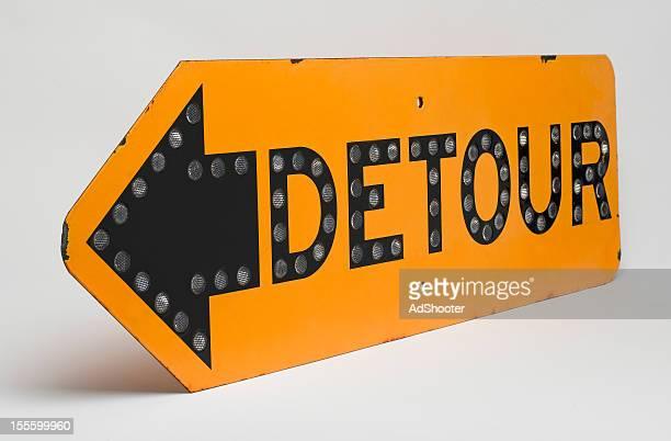 detour road sign - detour sign stock photos and pictures