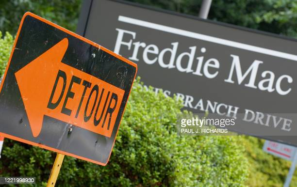 A detour sign is posted at the main entrance to the Freddie Mac headquarters on July 14 2008 in McLean Virginia Fannie Mae and Freddie Mac stocks...