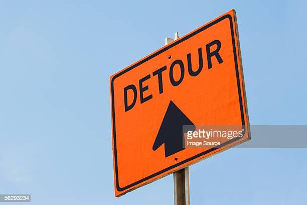 detour sign - detour sign stock photos and pictures
