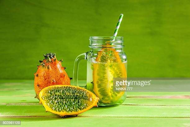 Detox or Infused water with Kiwano or horned melon (Cucumis metuliferus)
