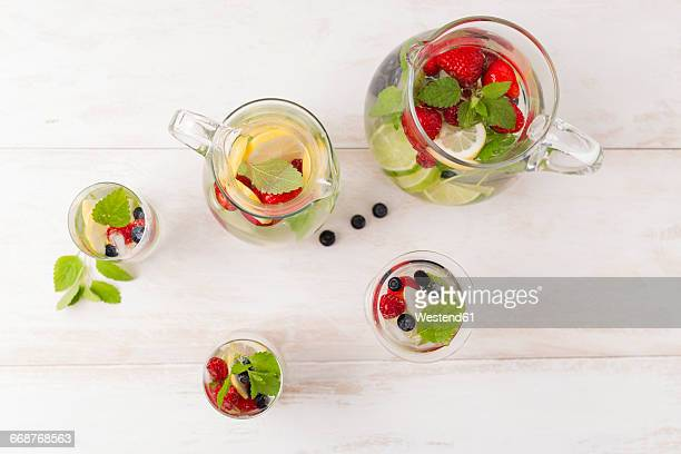 Detox water, infused water, strawberry, lemon, lemon balm, blueberry and raspberry