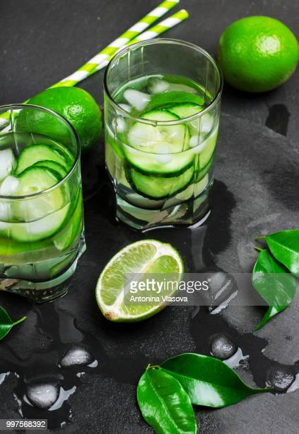 Detox water with lime and cucumber