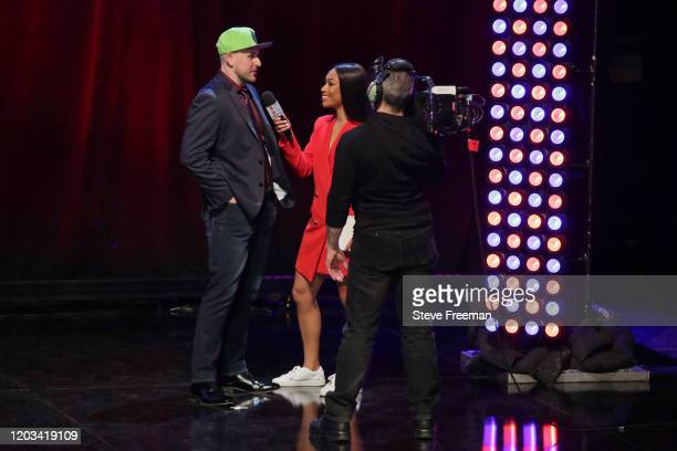 Detoxys talks with Autumn Johnson during the NBA 2K League Draft on February 22 2020 at Terminal 5 in New York New York NOTE TO USER User expressly...