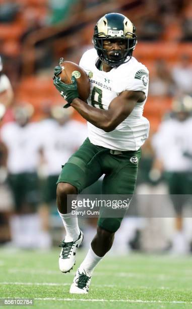 Detrich Clark of the Colorado State Rams makes a reception and scampers in for a touchdown during the first half of the NCAA football game between...