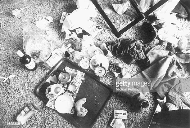 Detritus of a rock'n'roll lifestyle on he floor of a hotel room circa 1975