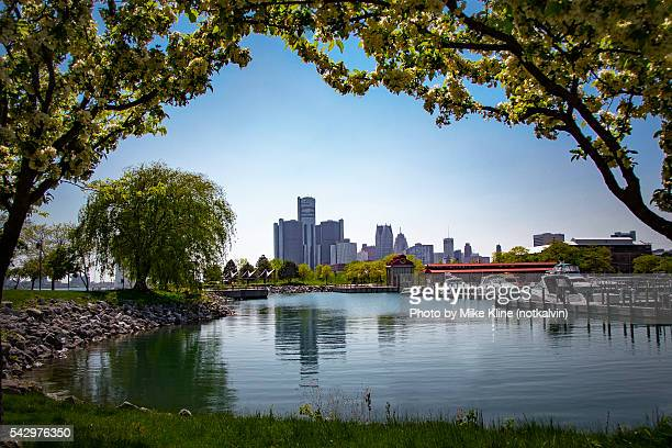 detroit and milliken state park - detroit river stock pictures, royalty-free photos & images