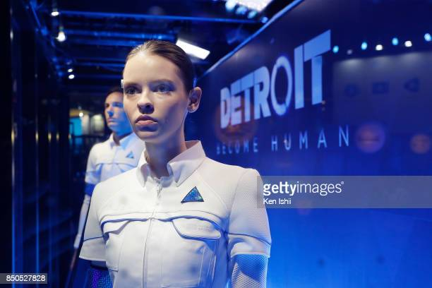 Detroit Become Human's booth models stand in Sony Interactive Entertainment Inc. Booth during the Tokyo Game Show 2017 at Makuhari Messe on September...