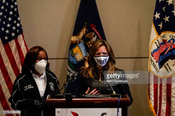 Detroit City Clerk Janice M. Winfrey looks on as Michigan Secretary of State Jocelyn Benson speaks at the TCF Center during a press conference on...
