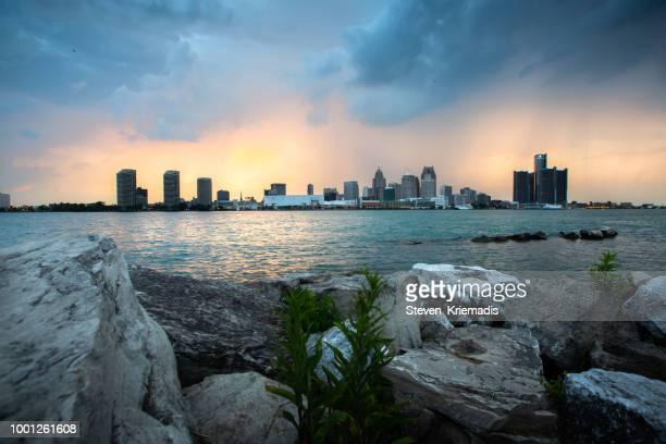 Detroit City Skyline at Dusk