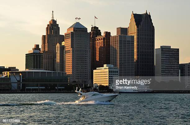 detroit cityscape - detroit river stock photos and pictures