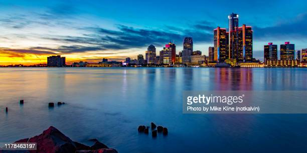 detroit - colorfully reflecting - detroit river stock pictures, royalty-free photos & images