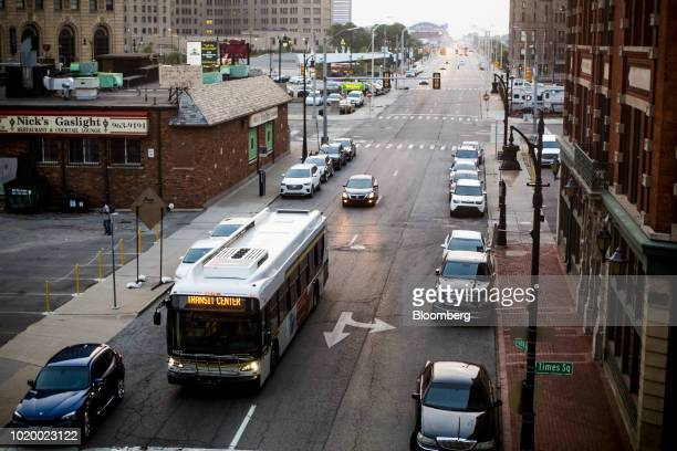 A Detroit Department of Transportation bus travels along Grand River Avenue in Detroit Michigan US on Tuesday Aug 14 2018 Detroit ranks in the top 7...