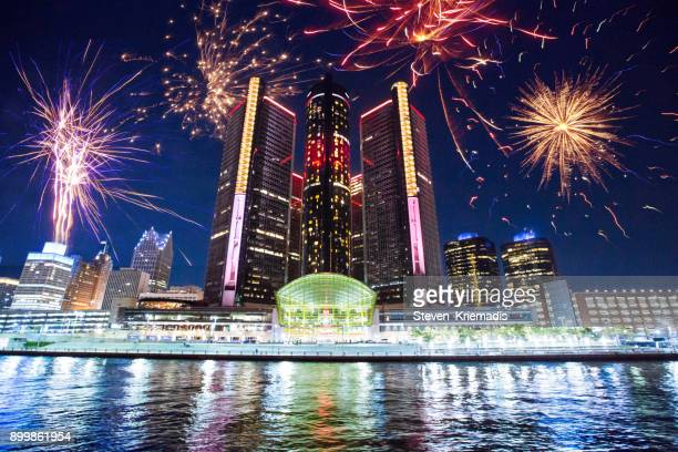 detroit - fireworks - detroit michigan stock pictures, royalty-free photos & images