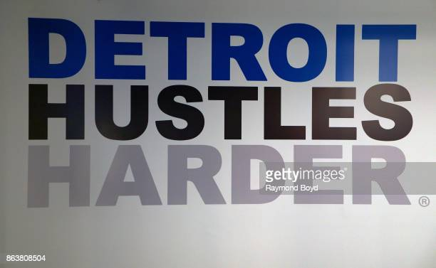 'Detroit Hustles Harder' signage at Ford Field, home of the Detroit Lions football team in Detroit, Michigan on October 12, 2017.