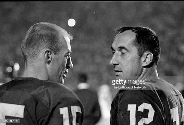 Detroit Lions at Los Angeles Rams Football Los Angeles Memorial Coliseum Rams Rookie quarterback Terry Baker talking to veteran quarterback Zeke...