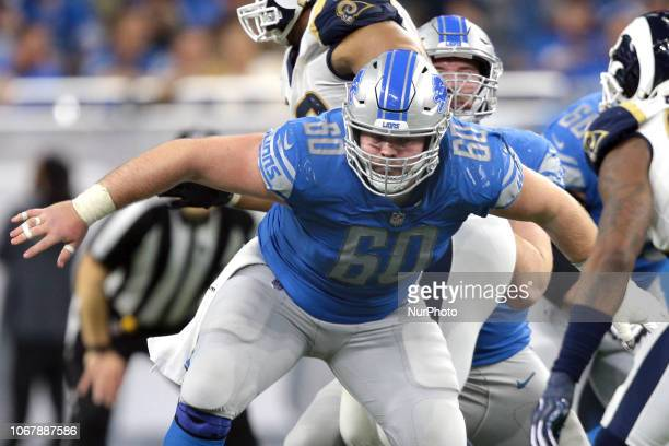 Detroit Lions center Graham Glasgow deffends aginst the Los Angeles rams during the second half of an NFL football game in Detroit Michigan USA on...