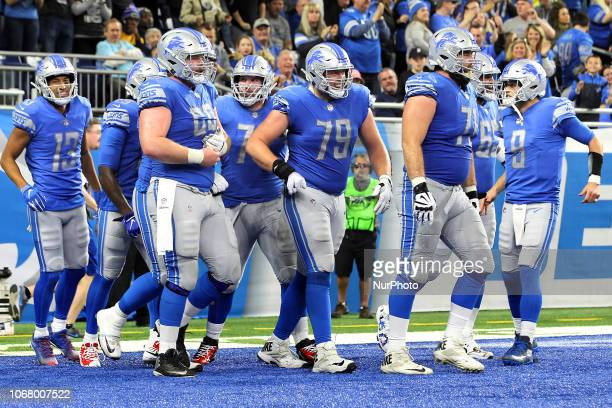 Detroit Lions center Graham Glasgow Detroit Lions offensive tackle Rick Wagner Detroit Lions quarterback Matthew Stafford Detroit Lions offensive...