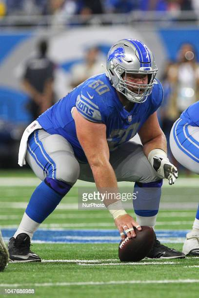 Detroit Lions center Graham Glasgow prepares to snap the ball during the second half of an NFL football game against the Green Bay Packers in Detroit...