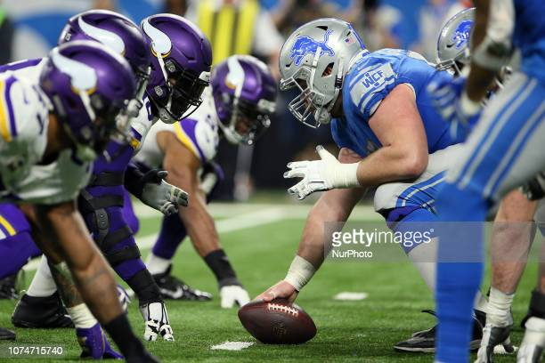 Detroit Lions center Graham Glasgow prepares to snap the ball during the second half of an NFL football game against the Minnesota Vikings in Detroit...