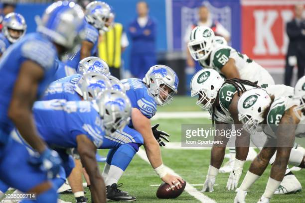 Detroit Lions center Graham Glasgow waits to snap the ball during a regular season game between the New York Jets and the Detroit Lions on September...