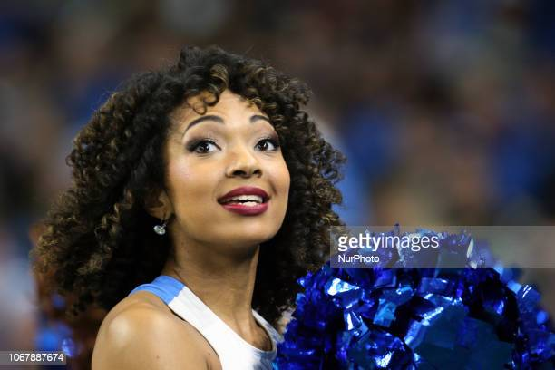 A Detroit Lions cheerleader performs during the first half of an NFL football game against the Los Angeles Rams in Detroit Michigan USA on Sunday...