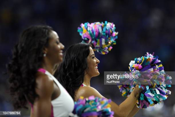 Detroit Lions cheerleaders perform during the first half of an NFL football game against the Green Bay Packers in Detroit Michigan USA on Sunday...