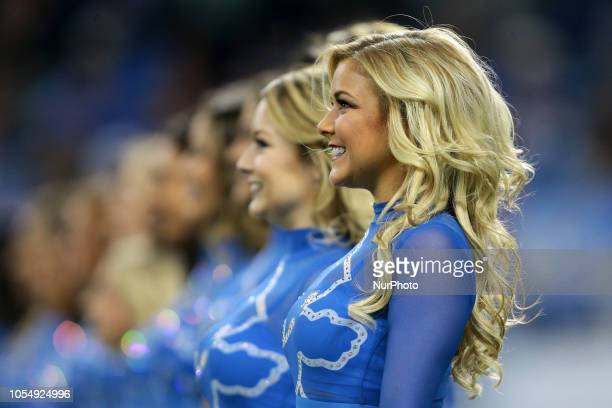 Detroit Lions cheerleaders perform during the first half of an NFL football game between the Detroit Lions and the Seattle Seahawks in Detroit...