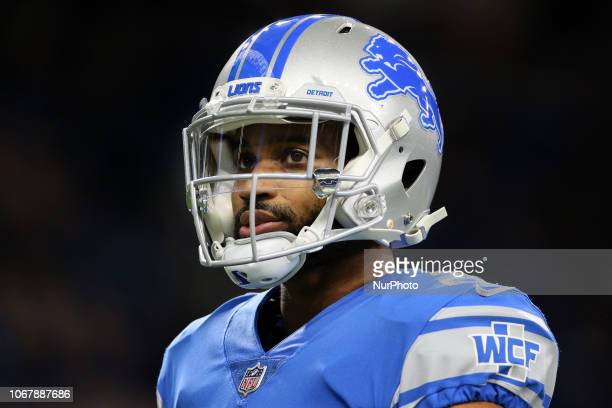 Detroit Lions cornerback Darius Slay looks on during warmups before the first half of an NFL football game against the Los Angeles Rams in Detroit...