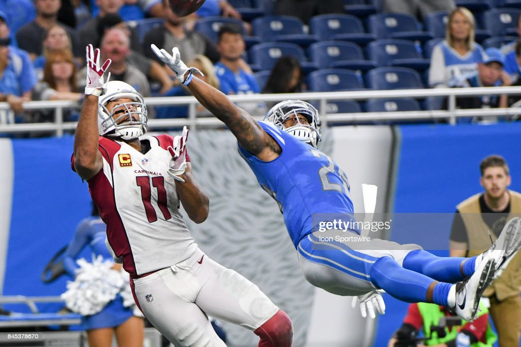 Detroit Lions cornerback Darius Slay (23) tips the ball away from Arizona Cardinals wide receiver Larry Fitzgerald (11) in the end zone during the Detroit Lions game versus the Arizona Cardinals on Friday September 10, 2017 at Ford Field in Detroit, MI.