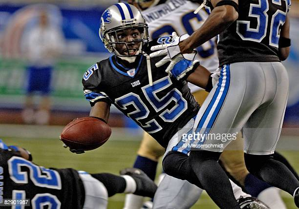 Detroit Lions cornerback Fernando Bryant laterals after picking uop a loose ball against the St Louis Rams in a preseason game on August 29 2005 at...